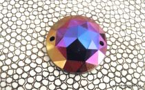 Acrylic Sew-On Gem ROUND Iridescent Purple 18mm