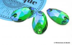 Arabesque Sew-On Teardrop Art 3230 Fern Green AB 18mm