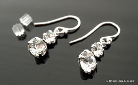'Classique' Earrings Crystal on Sterling Silver