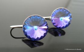 Rivolli Drop Earrings with Swarovski - Heliotrope