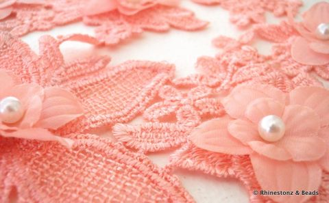 Lace Motif 'Rose Peach Flowers' Symmetrical Pair