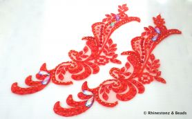 Embellished Lace Applique Pair - Red with Gold