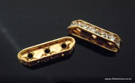 Preciosa Diamante Spacer Gold/Crystal 3Hole