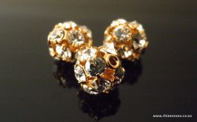 Swarovski Diamante Bead Crystal/Gold 8mm