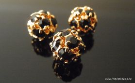Swarovski Diamante Bead Jet/Gold 8mm