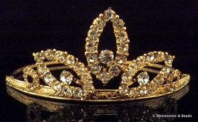 """Georgia"" Tiara - Gold/Crystal 40mm high"